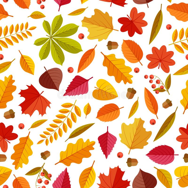 Autumn leaves pattern. Abstract repeating fall leaf, colorful foliage texture for wallpaper and gift cards, seamless. Vector print. Illustration pattern botany stock illustration