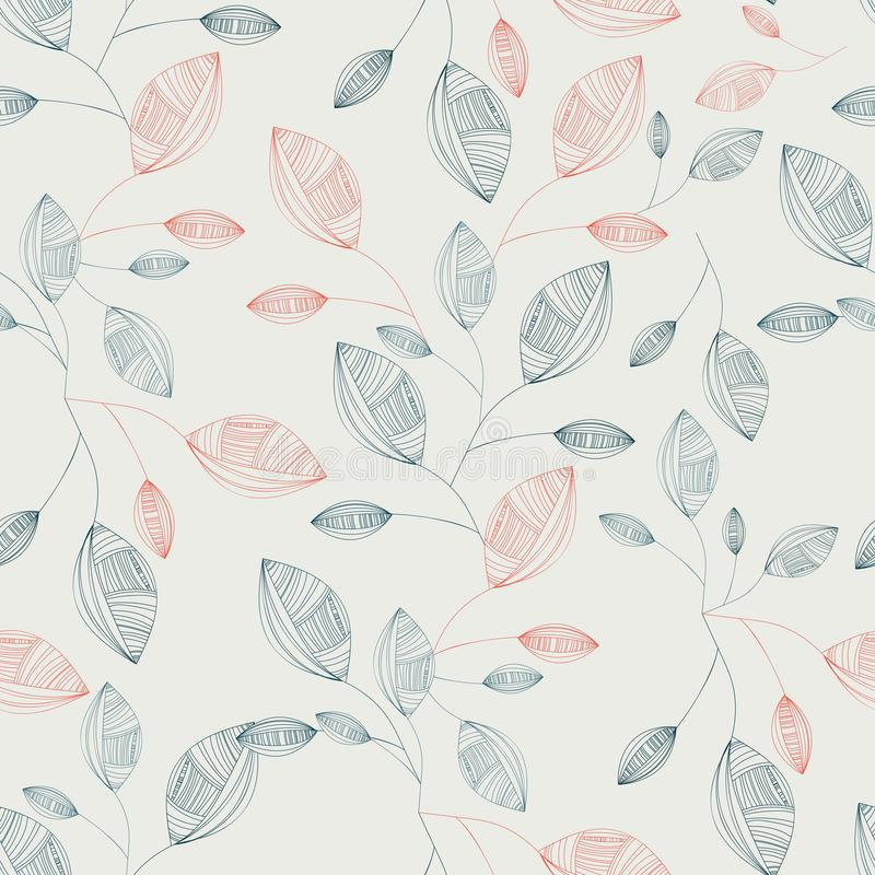 Seamless pattern with colorful autumn line leaves. Vector illustration. Autumn leaves pattern. Colorful leaves. Seamless ornament. Fall season theme. Vector royalty free illustration