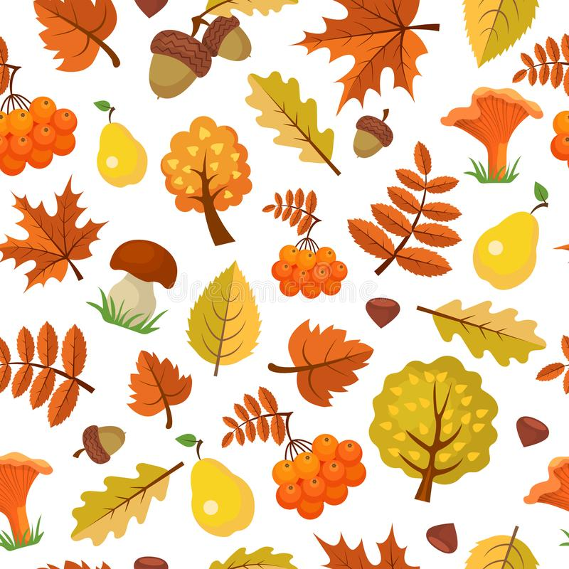 Autumn leaves pattern. Forest yellow fall beautiful season vector seamless background of autumn. Illustration of autumn pattern and forest leaf illustration royalty free illustration