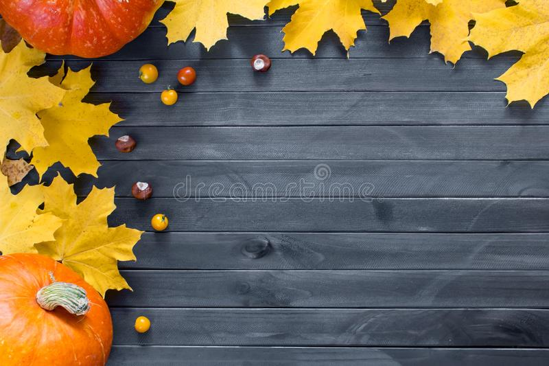 Autumn leaves and pumpkin over old dark wooden background with copy space stock photos
