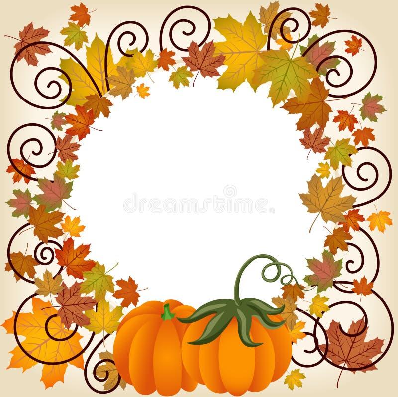 Autumn leaves pumpkin picture frame stock illustration