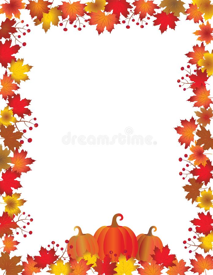 Autumn leaves and pumpkins frame isolated on white background. royalty free illustration