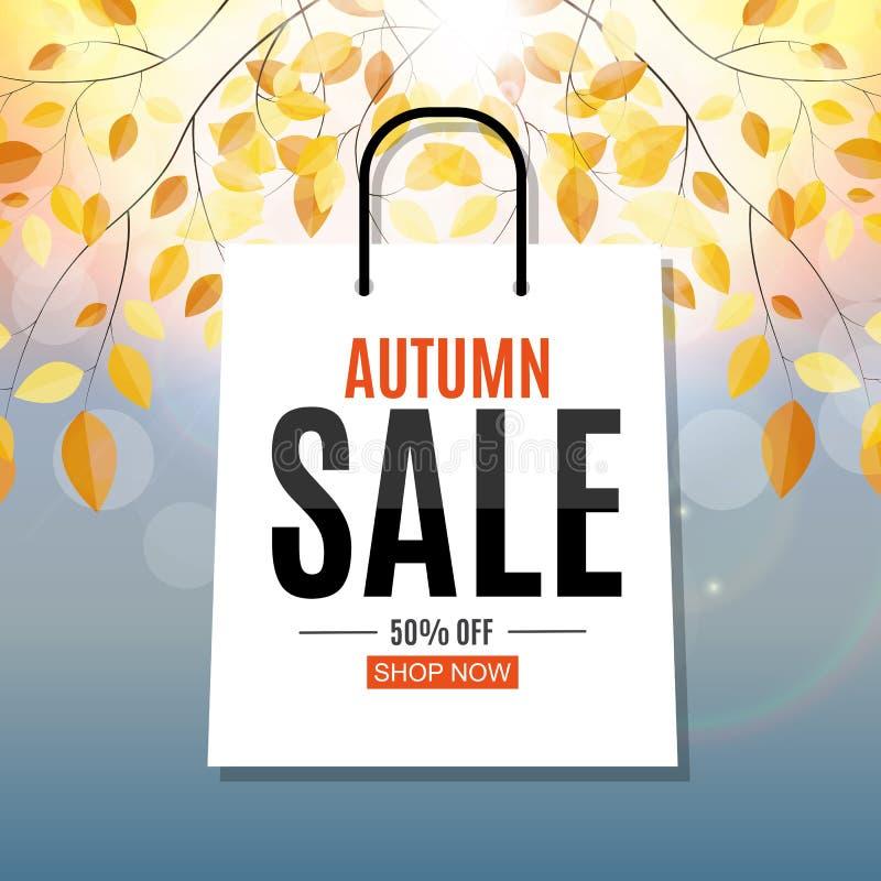 Autumn Leaves Sale Banner brilhante Cartão do disconto do negócio Ilustração do vetor ilustração royalty free