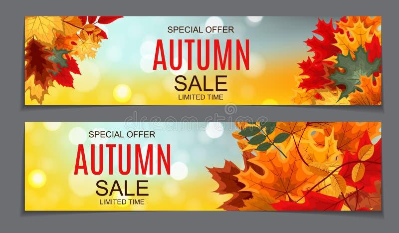 Autumn Leaves Sale Banner brillante Tarjeta del descuento del negocio Vector ilustración del vector