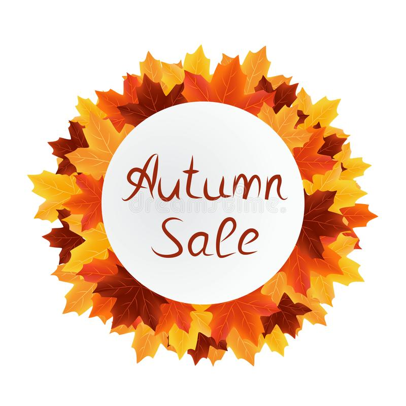 Autumn leaves sale circle label stock photography
