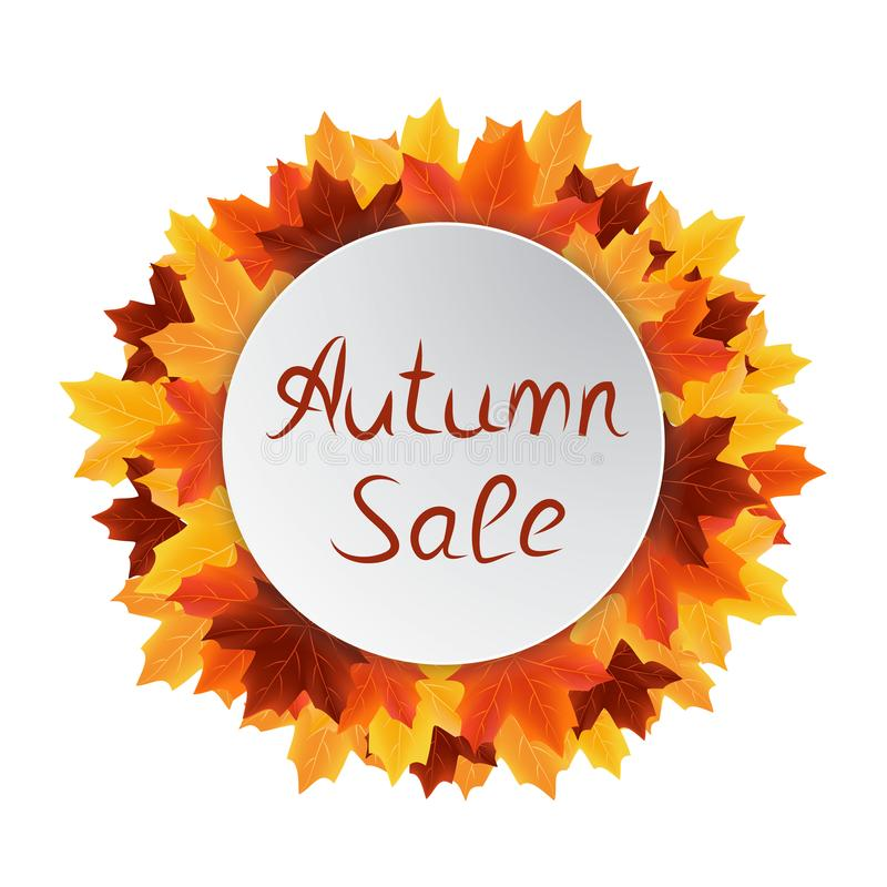 Autumn leaves sale circle label royalty free stock photography
