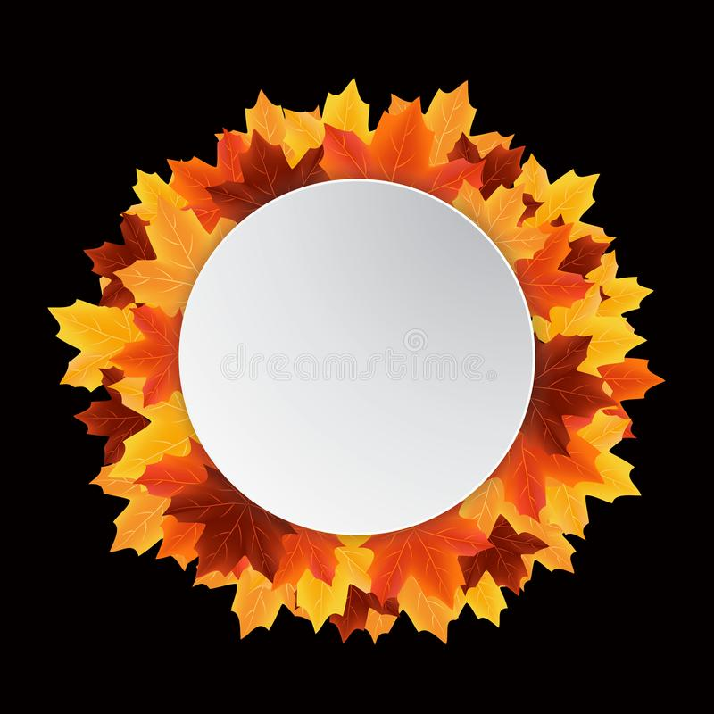 Autumn leaves sale circle label royalty free stock images