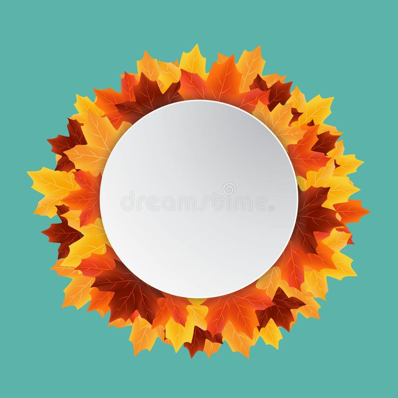 Autumn leaves sale circle label isolated on green stock photos