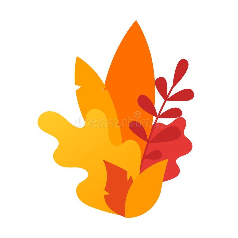 Autumn Leaves sammansättning Gult trädblad för vektor som isoleras på vit bakgrund Illustration av bokträdet, kastanj, lind, ek, royaltyfri illustrationer