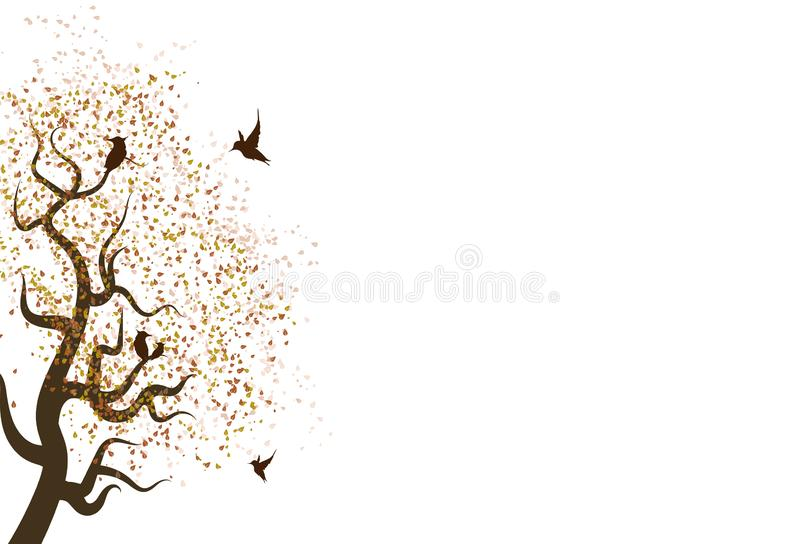 Autumn leaves scatter fall in nature with animal wildlife concept on white abstract background textured royalty free illustration