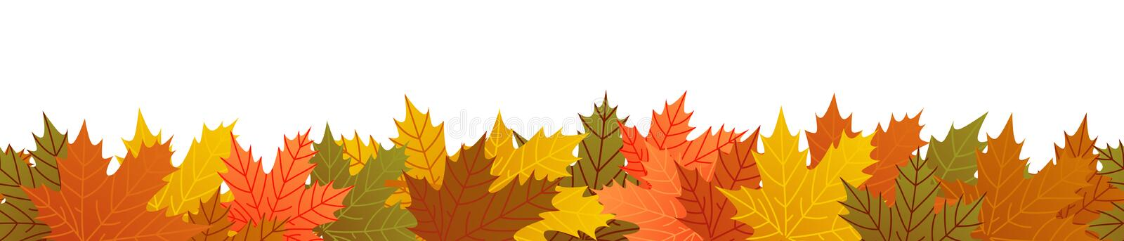 Autumn leaves, seamless banner, repeating pattern, colorful foliage, maple royalty free illustration