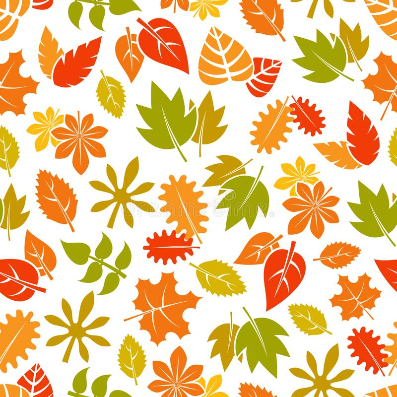Autumn leaves seamless pattern - colorful fall foliage background. Vector illustration royalty free illustration
