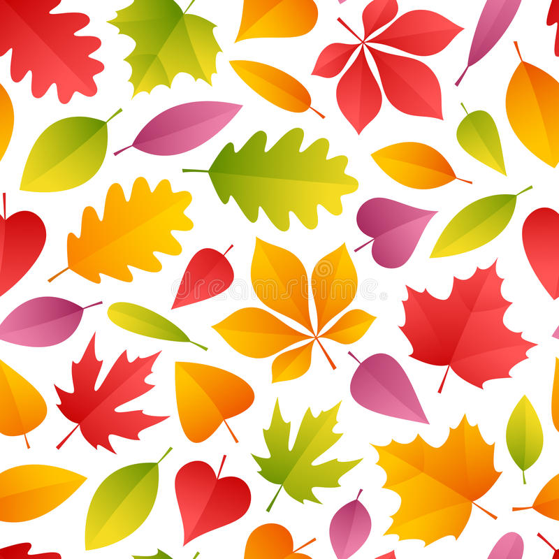 Autumn Leaves Seamless Pattern. Colorful Autumn Leaves Seamless Pattern. Isolated on white background. Clipping paths included in JPG file stock illustration
