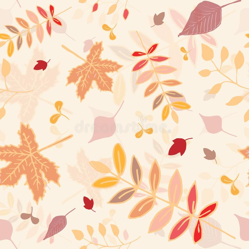 Autumn leaves seamless pattern with light yellow background. royalty free stock image