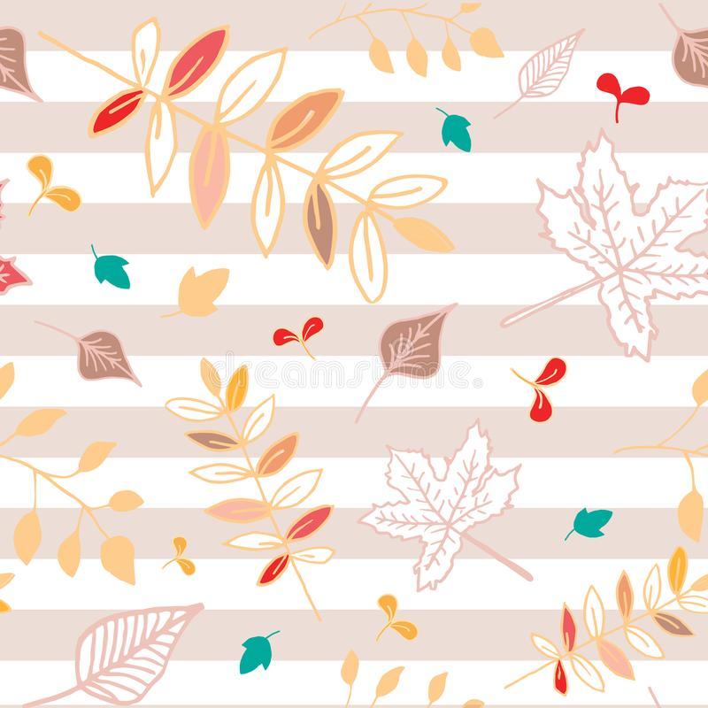 Autumn leaves seamless pattern with pink striped background. stock photography