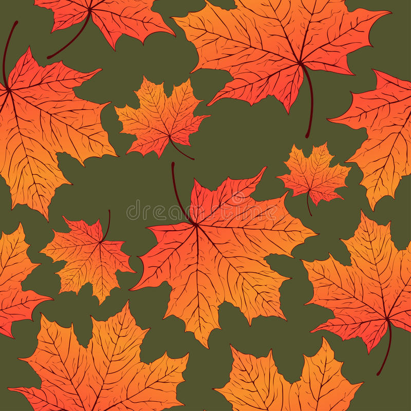 Autumn leaves, seamless pattern, vector background. Yellow orange maple leaf on a green . For the design of wallpaper stock illustration