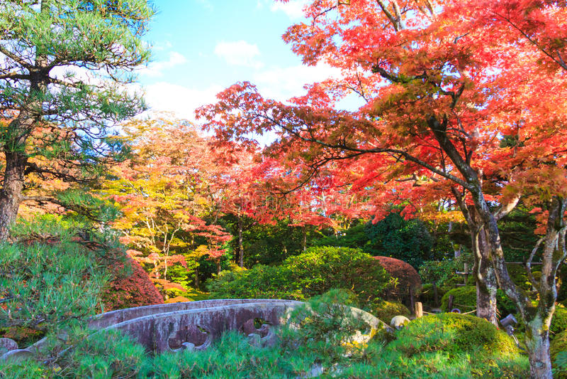 Autumn leaves in Shoyo-en Japanese garden Nikko, Japan stock image