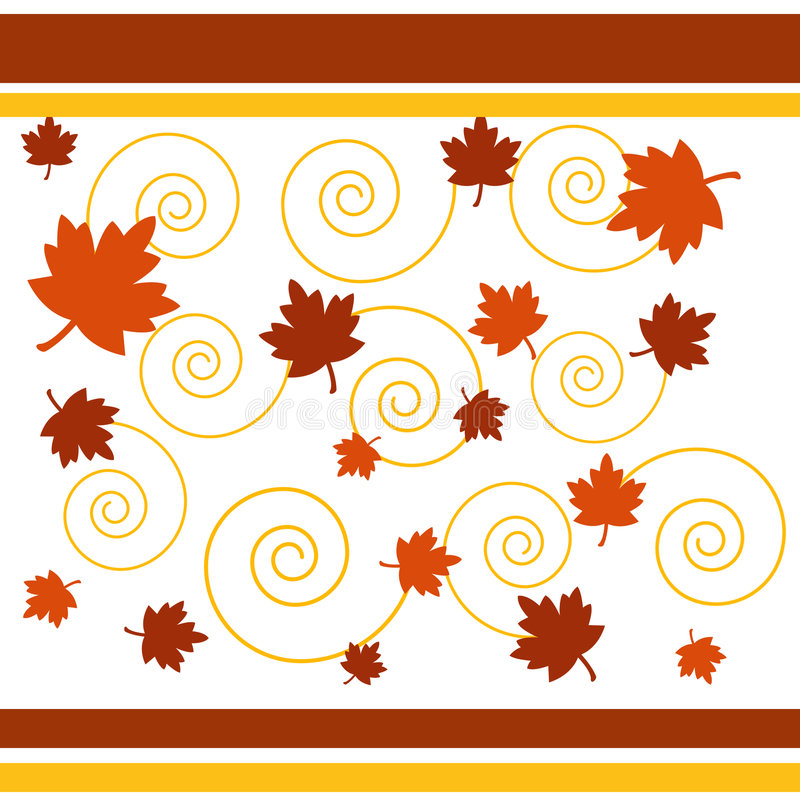 Autumn leaves and spirals royalty free illustration