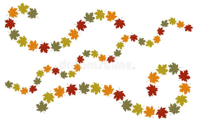 Autumn leaves swirl elements royalty free illustration