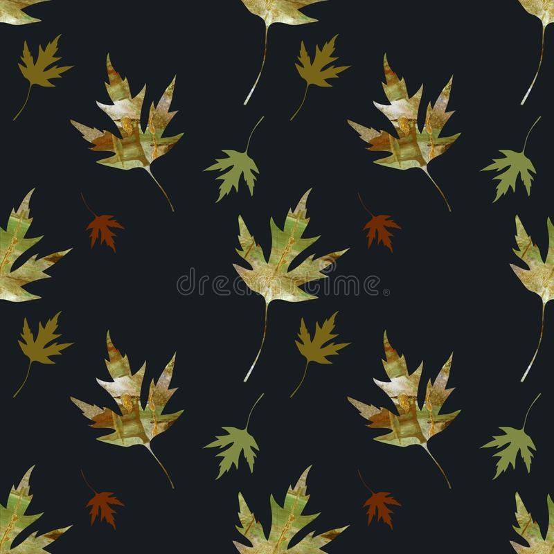 Autumn leaves textured painting pattern. Painting Acrylic and Full spectrum on cardboard artist creative background. Autumn leaves textured painting pattern stock illustration
