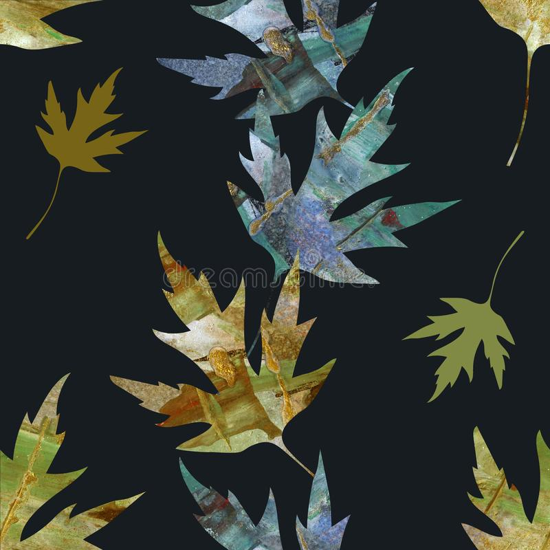 Autumn leaves textured painting pattern. Painting Acrylic and Full spectrum on cardboard artist creative background. Autumn leaves textured painting pattern vector illustration
