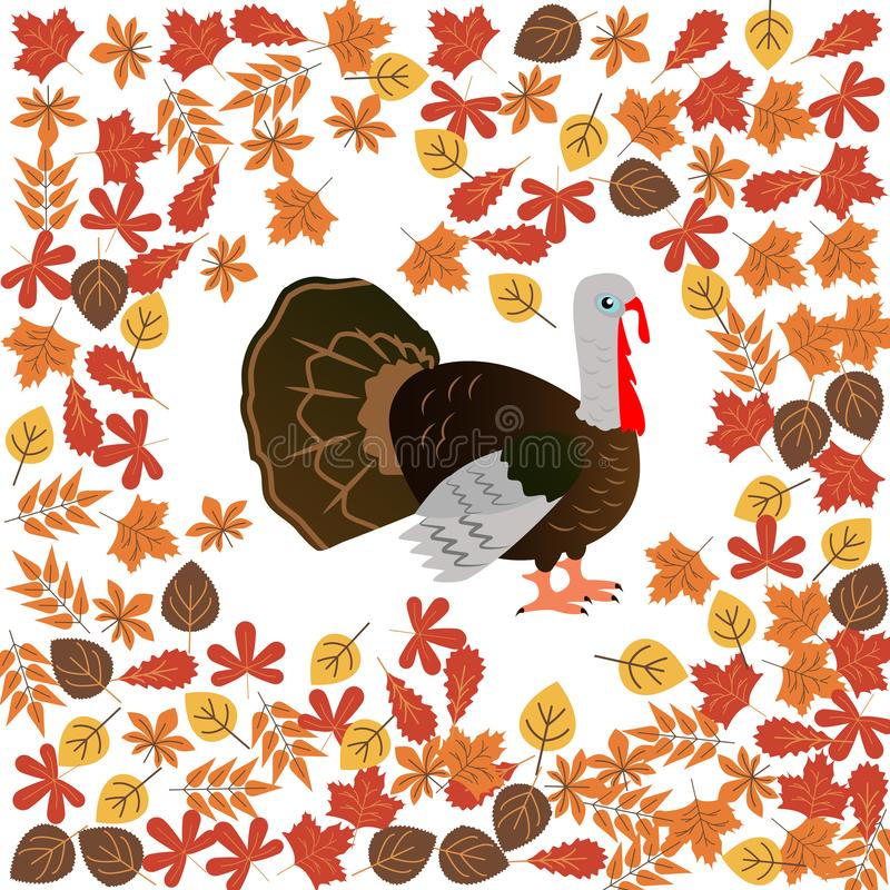 Autumn leaves and turkey color icon. Element of Happy Thanksgiving Day illustration. Premium quality graphic design icon. Signs an. D symbols collection icon for royalty free stock photography