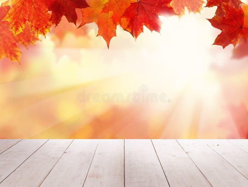 Autumn Leaves vermelho, tabela de madeira do Grunge vazio imagens de stock