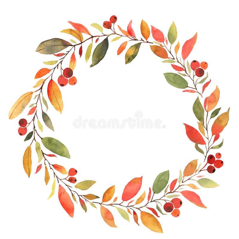 Autumn leaves watercolor decorative wreath royalty free illustration