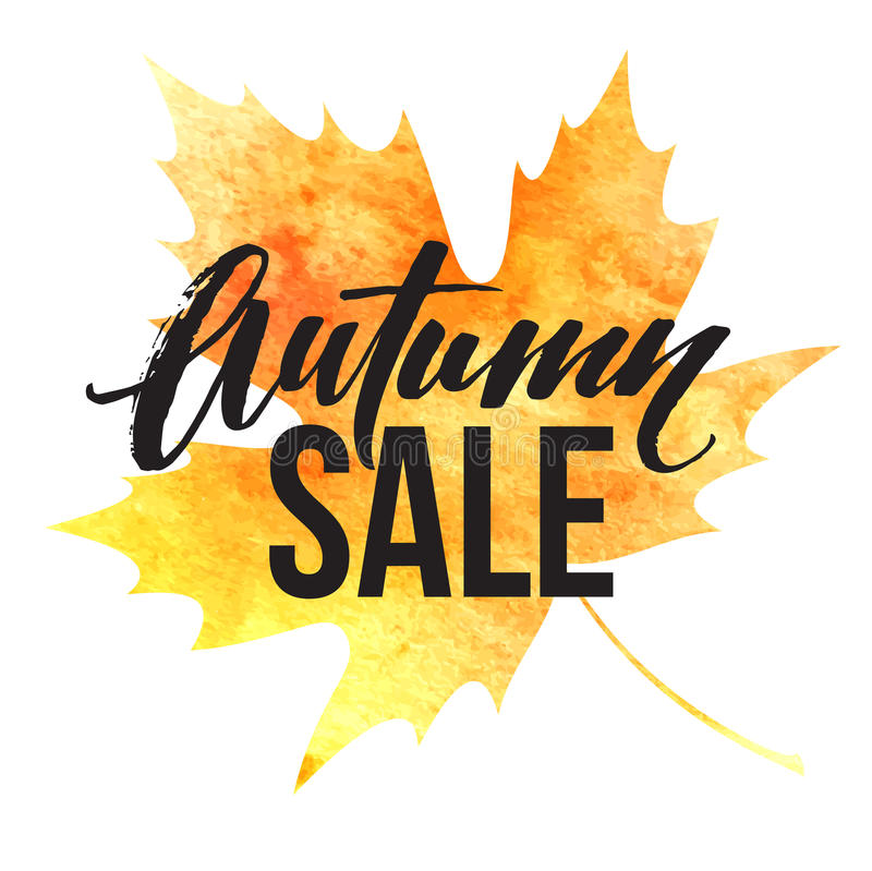 Autumn leaves. Watercolor texture. Fall leaf. Sale lettering design. Vector illustration stock illustration