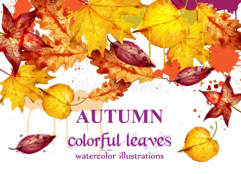 Autumn leaves watercolor Vector decor background. Fall banner template. Yellow colors stock illustration