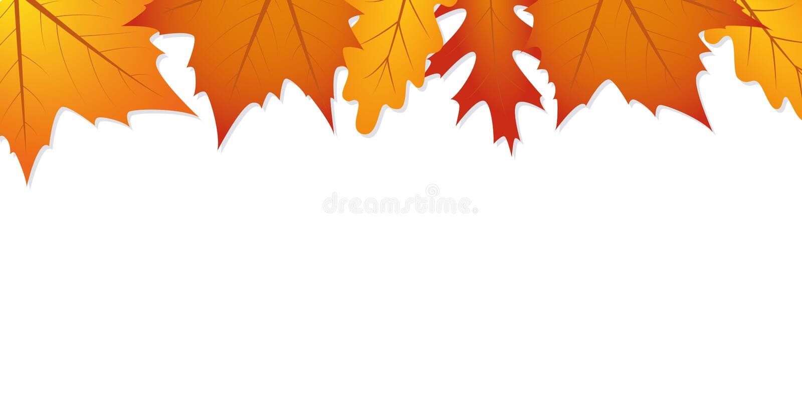 Autumn leaves white background with copy space. Vector illustration EPS10 royalty free illustration