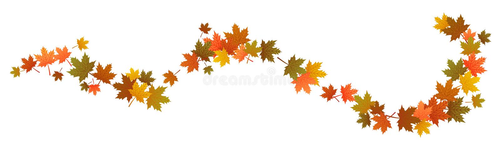 Autumn leaves in the wind, swirl, colorful foliage, maple, thanksgiving stock illustration
