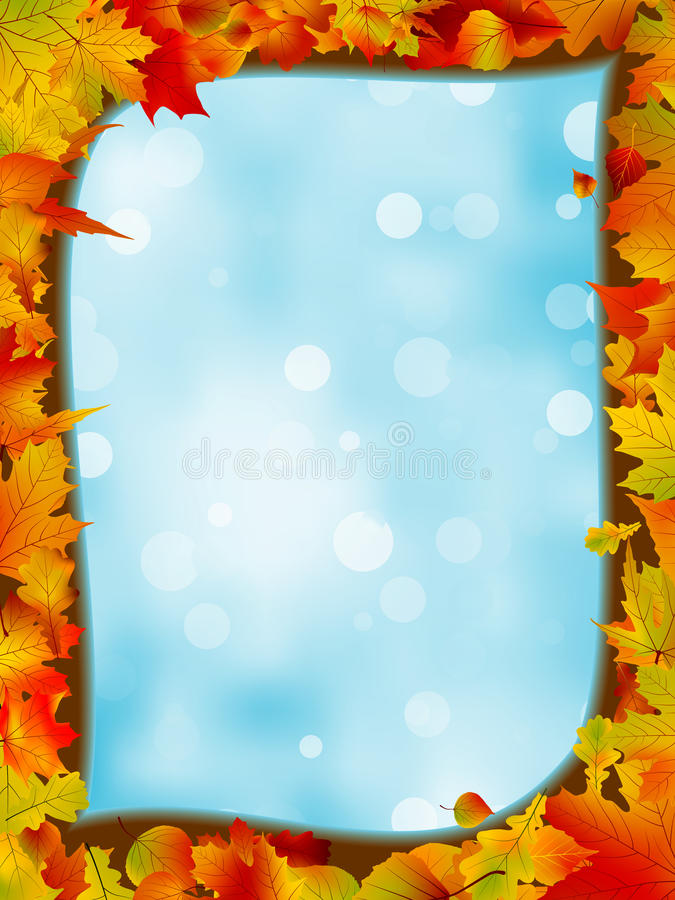 Free Autumn Leaves With Background Of Blue Sky. EPS 8 Royalty Free Stock Images - 20013589