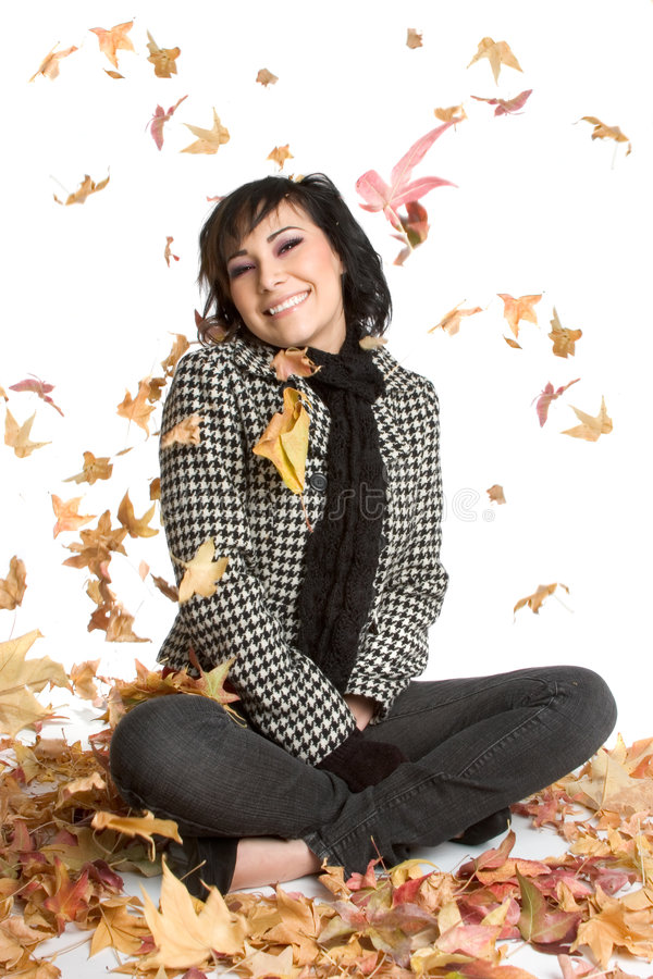 Autumn Leaves Woman royalty free stock image