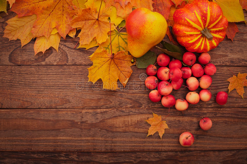 Autumn leaves on wooden table. Fruits and royalty free stock images