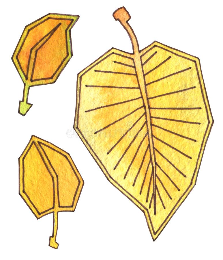 Autumn leaves are yellow and orange. Hand drawing watercolor with outline. Harvest time. Autumn leaf fall. royalty free illustration