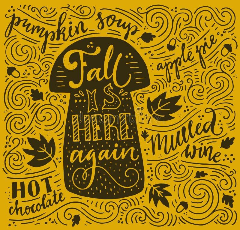 Autumn Lettering ilustração royalty free