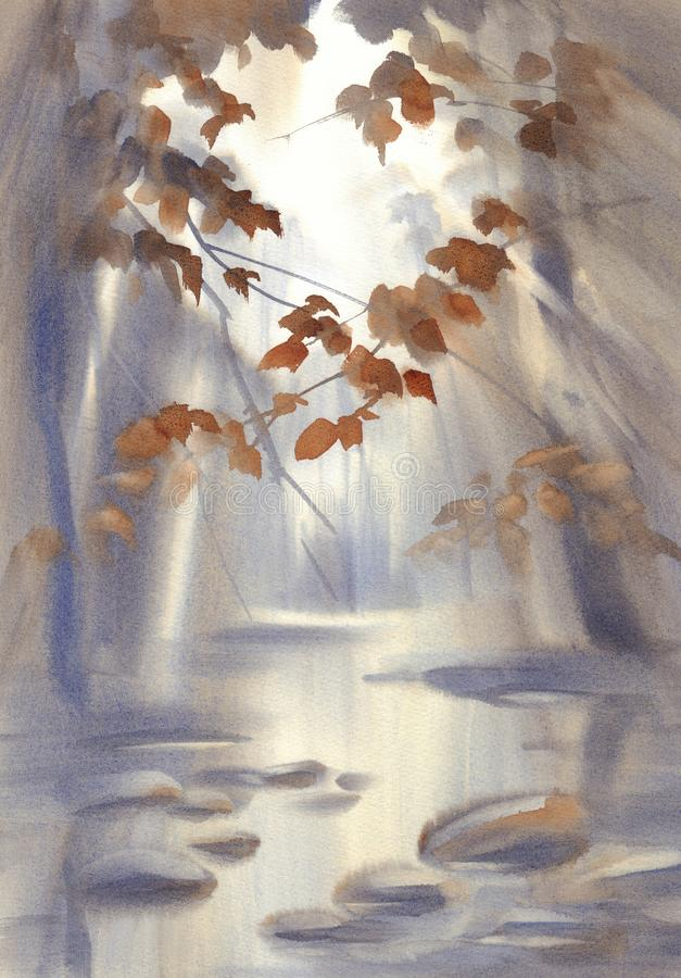 Free Autumn Light In The Forest Watercolor Landscape Stock Photography - 158771742