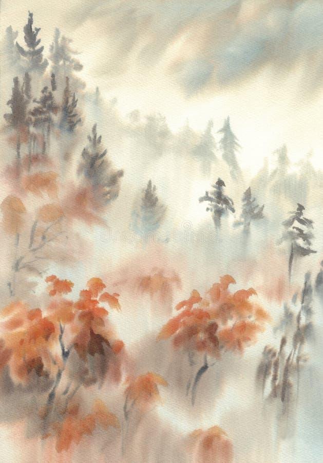 Autumn light in the mountain mist watercolor landscape vector illustration