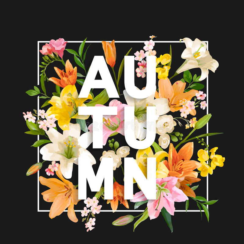 Autumn Lily Flowers Background Autumn Floral Design vector illustratie