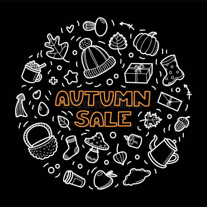 Autumn lineart icons doodles elements collection. Vector set royalty free stock photography