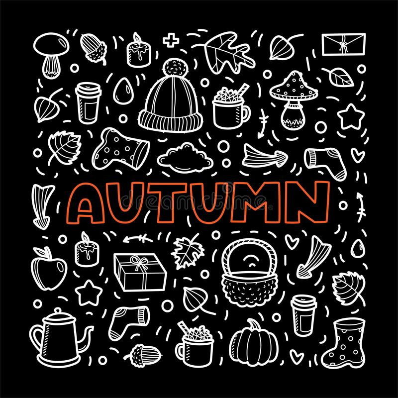 Autumn lineart icons doodles elements collection. Vector set stock image