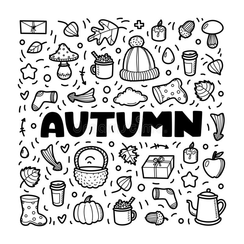 Autumn lineart icons doodles elements collection. Vector set stock images