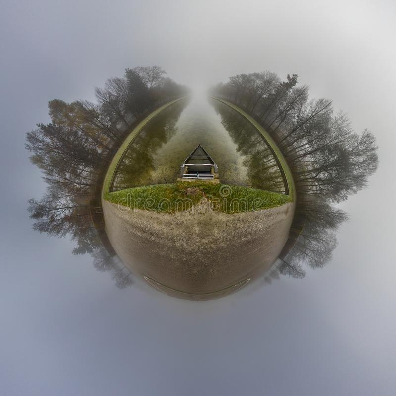 Autumn Little Planet met mist royalty-vrije stock foto's