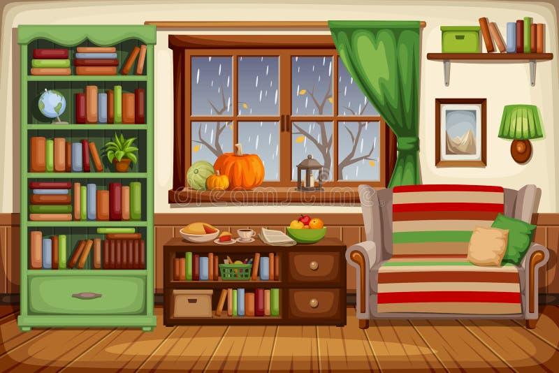 Autumn living room interior. Vector illustration. vector illustration