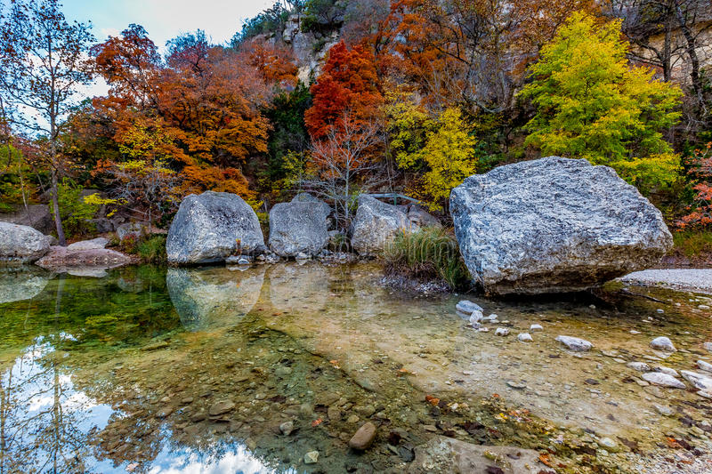 Autumn at Lost Maples State Park, Texas. Beautiful Crystal Clear Pool and Colorful Fall Foliage at Lost Maples State Park, Texas stock images