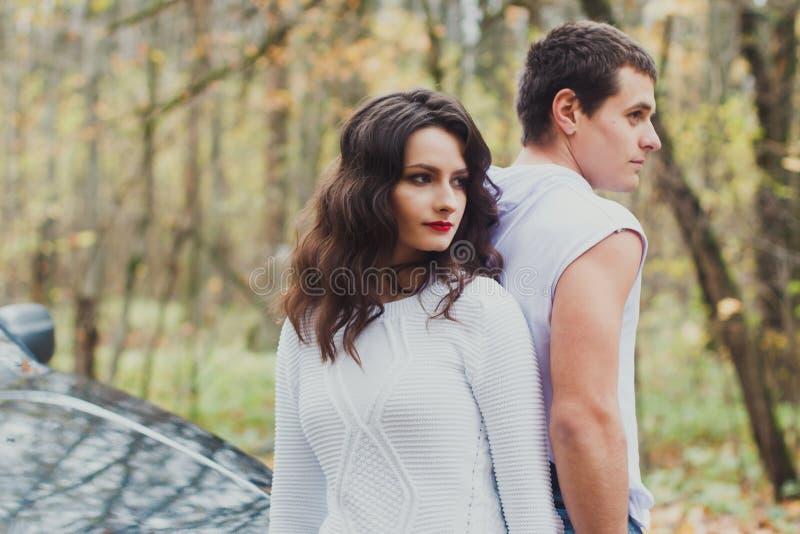 Autumn love story beautiful couple. royalty free stock image