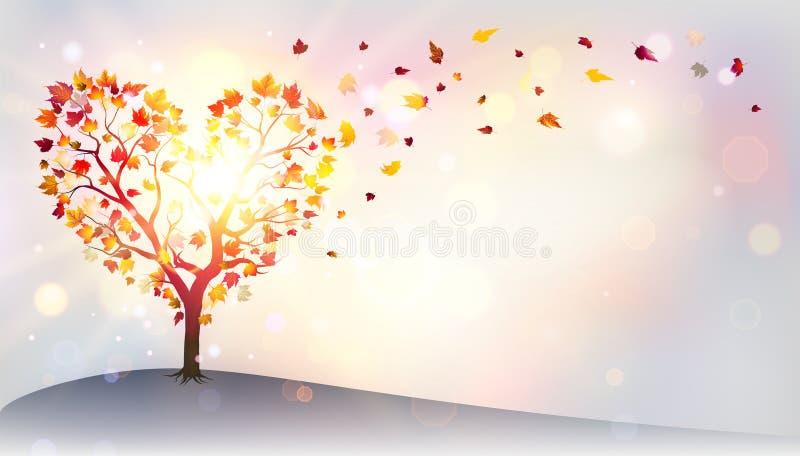 Autumn In Love - Tree vector illustration
