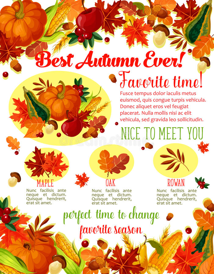 Autumn lovely fall time wishes vector poster. Autumn Time wishes quotes poster template for seasonal holiday greeting. Vector autumn harvest of pumpkin, corn or vector illustration