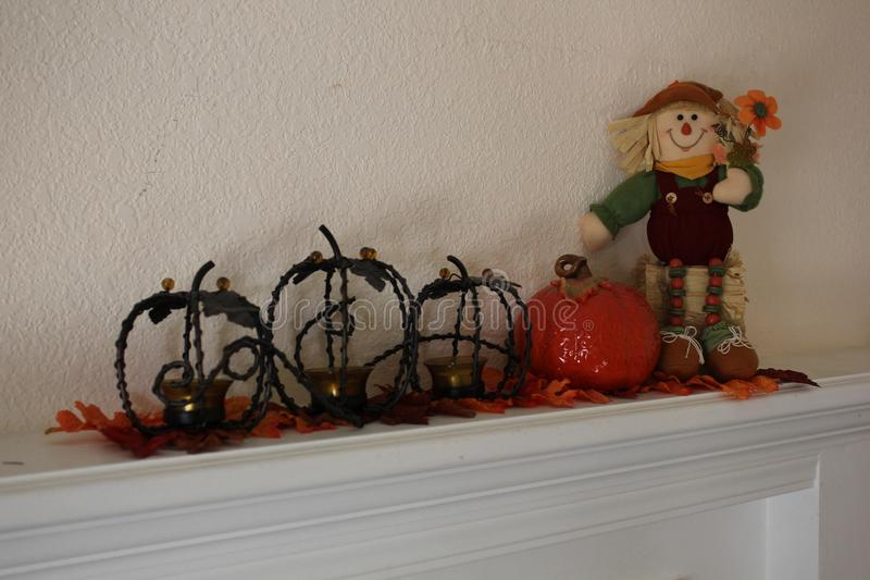 Autumn Mantel Decor for the Home stock photography